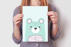 BEAR print set #cute #bear #illustration #design #wallart #kidsroom #decoration #nursery #print