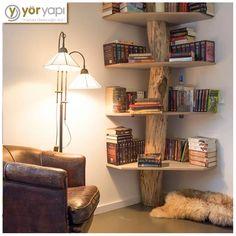 Bu haftaki kitaplık önerimiz! Dikkat, bu kitaplık için canlı bir ağacı kesmenizi önermiyoruz :) #design #dizayn #decoration #dekorasyon #bookshelf #kitaplık #home #homesweethome #evdizaynı #homedesign #homedeco