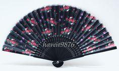 Silk fabric Japanese hand fan wedding folding by HaveItFancyWorld
