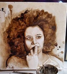 """""""Mi piace"""": 503, commenti: 23 - CarMela Garro  (@mela__art) su Instagram: """"""""In lei c'è qualcosa di noi, un nostro possibile modo di essere, il riflesso di una delle altre…"""" Coffee on canvas #coffepainting #art #nespressomoments portrait = @lauramessina"""