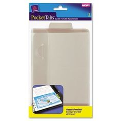 PocketTab Repositionable Storage Pockets, 5 x 7 1/2, Taupe, 5/Pack by Avery. $7.89. Stick these convenient adhesive-backed storage pockets in a notebook, date planner or folder. Easy to remove and repositionwon't damage surfaces. Secure closure keeps your discs safely inside. Attached tabs can be written on, so you can see the contents at a glance. Media Stored: CD;DVD; Capacity (text): 1; Material(s): Polypropylene.