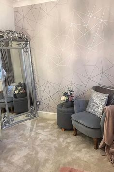 The Zara Shimmer Wallpaper By I Love Wallpaper.  A Stunning Geometric Design that has a Metallic Aspect. A Beautiful Collection that makes a Statement whatever size room you put it in.  For more colours and similar designs, visit ilovewallpaper.co.uk  #ilovewallpaper #home #interior #decor #wallpaper Small Dressing Rooms, Dressing Room Decor, Dressing Room Design, Silver And Grey Bedroom, Silver Room, Silver Bedroom Decor, Bedroom Decor For Teen Girls, Room Decor Bedroom, Apartment Decorating On A Budget