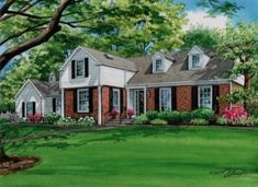 watercolor of lovely home in Ladue, Missouri. Created by Custom House Portraits by Richelle Flecke. Watercolor Portraits, Watercolor Paintings, House Paintings, Scenery Background, House Art, Art And Architecture, Custom Homes, Art Projects, Anniversary