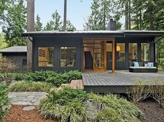 """""""View this Great Modern Exterior of Home with exterior stone floors & Pathway in Bainbridge Island, WA. The home was built in 1981 and is 2268 square feet. Discover & browse thousands of other home design ideas on Zillow Digs. Modern Exterior, Exterior Colors, Exterior Paint, Exterior Design, Traditional Exterior, Black Exterior, Open Space Living, Living Spaces, Bainbridge Island"""