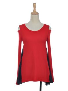 Anna-Kaci S/M Fit Red Open Shoulder Long Sleeve « Impulse Clothes