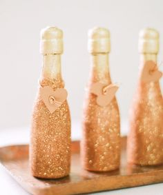 Would be cute for Michelle's Wedding Shower Glittery champagne bottles / Photography by: White Loft Studio / Design & Styling by: Style Me Pretty at Home bridesmaid gift Valentines Day Party, Valentine Crafts, Glitter Champagne Bottles, Gold Champagne, Champagne Party, Gold Bottles, Great Gatsby Wedding, Dream Wedding, Wine Pairings
