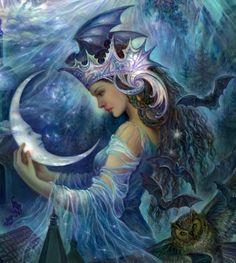 Goddess of day and night Josephine Wall, Goddess Art, Moon Goddess, Psy Art, Art Japonais, Fantasy Kunst, Moon Art, Fairy Art, Fantasy Artwork