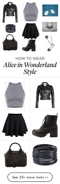 """Punk rock mixed with pop"" by ilovemusic2014 on Polyvore featuring Charlotte Russe, Dsquared2, ABS by Allen Schwartz and Alexander Wang"