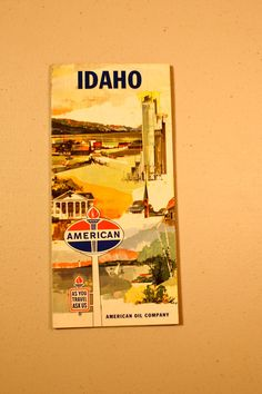 Vintage 70's Idaho map road map American Oil Company vintage travel trailer classic car stocking stuffer transportation by TraderTumbleweeds on Etsy