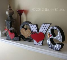 Unfinished Wood LOVE Letters Wedding Family Home Decor.