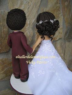fofuchos-novios 22nd Birthday, Fondant Figures, Black Tote, Bride Hairstyles, Marie, Flower Girl Dresses, Disney Princess, Wedding Dresses, Hair Styles
