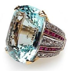 REALLY WANT THIS RING!!!  Retro Vintage Cocktail Ring Aquamarine Ruby & Rose...