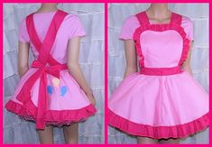 This Pastel Pink Pinafore Apron was inspired by Pinkie Pie from My Little Pony. Most of the fabric is bubblegum pink cotton. All of the ruffles and