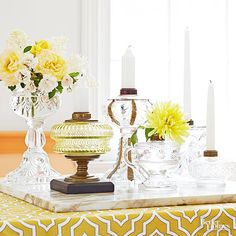 Build a translucent table centerpiece by clustering an assortment of crystal and glass oil lamps on a tray. No need to mess with kerosene to light up a room: The lamp openings once designed for wicks are ideally suited for holding a variety of candle sizes, and the decorative wells are great when used as vases.