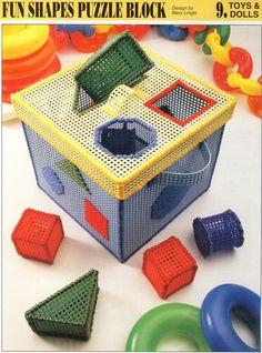 Fun Shapes Puzzle Block Plastic Canvas Pattern. $3.50, via Etsy.