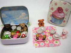 Miniature Cream Tea In a Tin - Fairy Garden Picnic Dolls House Teddy Bear Picnic #LovelyPrettyGiftShop