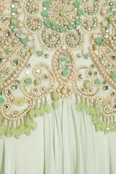 Marchesa Beaded Silk Chiffon Gown in Green | Lyst