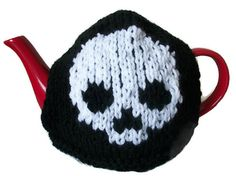 Skull Tea Cosy Hand Knitted Goth Rockabilly by thekittensmittensuk