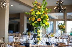 Tall yellow and green Lemon Lime Centerpiece