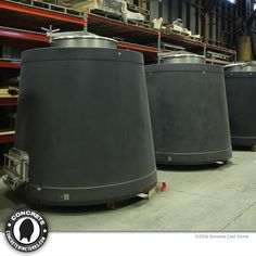 Concrete Conical Tanks / 700 to 1,080 gal. from Sonoma Cast Stone   Can customize to fit your winery. Open-top or closed with large manways. Can be placed on a raised foundation, powder coated steel adjustable ring support or matching concrete legs. Optional glycol temp-control. 10-year guarantee against structural cracks or leaks. Sonoma Cast Stone makes the finest concrete wine tanks on earth, right in the California Wine Country. #winelover #SonomaChat #winechat #concretewinetanks.com