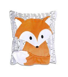 The Peanut Shell Woodland Dreams Grey/Orange Fox Decorative Pillow