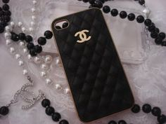 Chanel CC inspired iPhone 4 4s Black quilted leather Gold case cover