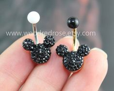 Disney Mickey Mouse Black Crystal belly button by woodredrose