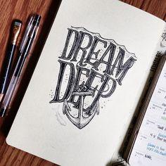 Dream DEEP. #lettering #illustration #moleskine #tw #art #drawing #novascotia #sketchbook #sketch #ink #penandink #inkdrawing #pen #writing #notebook #journal #nautical #sea #ocean #anchor #eastcoast #halifax #maritimes #beejaedee #eastcoastart