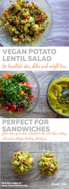 healthy high-fiber salad recipe. Vegan potato lentil salad that is great for sandwiches or wrapped in greens for a gluten-free wrap. Great as a savory vegan breakfast and  rich in antioxidants, also contains anti-inflammatory herbs and spices. Enjoy!