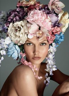 Vogue Italia December 2011 Karlie Kloss by Steven Meisel, floral headpiece, rose Steven Meisel, Karlie Kloss, Headpieces, Fascinators, Foto Fashion, High Fashion, Fashion Beauty, Vogue Beauty, Gypsy Fashion