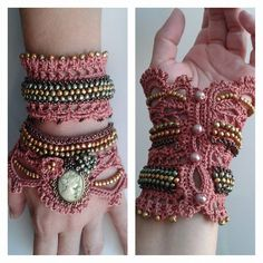 crochet jewelry,crochet beaded cuff