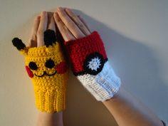 MADE TO ORDER Pokeball Pikachu Inspired Crochet Fingerless mittens gloves Pokemon