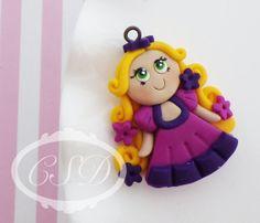 Tangled Rapunzel Polymer Clay Pendant Polymer by CrunchySushiDay, $6.00