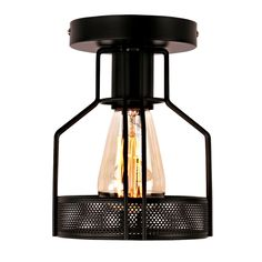 unitary brand rustic black metal cage shade single semi flush mount ceiling light with 1 e26