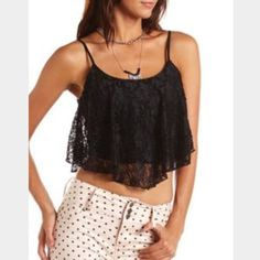 🎉SALE🎉 Black lace tank NWT Charlotte Russe Tops Tank Tops