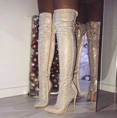 Glitter Bling Women Thigh High Boots Pointed Toe Cross-Tied High Heels Woman Winter Shoes Fashion Mujer Over The Knee Long Boots Thigh High Boots, High Heel Boots, Heeled Boots, Bootie Boots, Knee Boots, Women's Boots, Botas Sexy, Stilettos, Stiletto Heels
