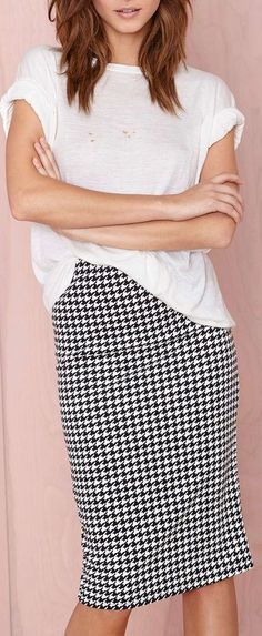 houndstooth midi not this shirt for work but definitely this skirt