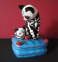 Day of the Dead Cat and Kitten MUSIC BOX Ceramic by illustratedink