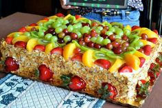 My favorite cake  Tres Leches, fruit & almond slivers