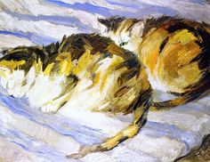 Two Grey Cats (also known as Study of Cats II), 1909 - Franz Marc Franz Marc, August Macke, Wassily Kandinsky, Cavalier Bleu, Son Chat, Fashion Painting, Grey Cats, Animal Paintings, Animales