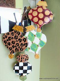 hand painted paper mache ornament set