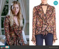Hanna's floral ruffled front blouse on Pretty Little Liars.  Outfit Details: https://wornontv.net/72559/ #PLL