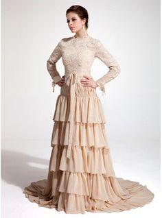 A-Line/Princess High Neck Court Train Chiffon Lace Evening Dress With Bow(s) Cascading Ruffles (017020660) - JJsHouse