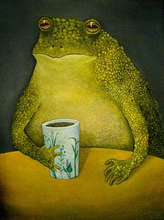"""""""Toad's Morning Cup"""" Painting by Clare Hulfish posters, art prints, canvas prints, greeting cards or gallery prints. Find more Painting art prints and posters in the ARTFLAKES shop. Frog Tea, Potnia Theron, Frog Illustration, Frog Pictures, Cute Frogs, Frog And Toad, Whimsical Art, Pics Art, Animes Wallpapers"""