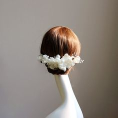 pearl organza flower hair comb white/Ivory by Accessories4Wedding