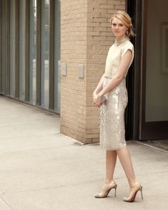 Vintage skirt suit as classic and stunning wedding attire for a vow renewal.