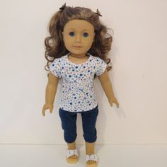 American Girl Doll Clothes Flowered Tee Capri by AmericAnnMade, $17.00