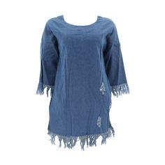 Better Be - Women's Denim Fringe Sleeves Dress - Blue