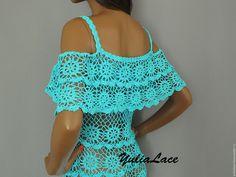Купить Вязаное платье - бирюзовый, платье, бирюзовое платье, Платье нарядное, платье летнее