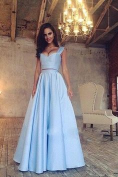 simple light blue two pieces long prom dresses for teens